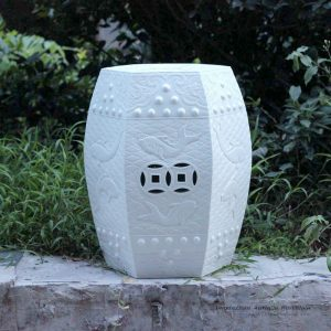 RYOM02-NEW_Carved fish pattern white porcelain stool