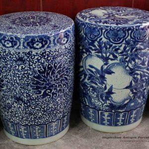 RYOM10_ High quality garden decorative blue and white stool