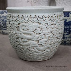 RYOM14_Engraved China fair tale dragon design propitious wish large porcelain pot