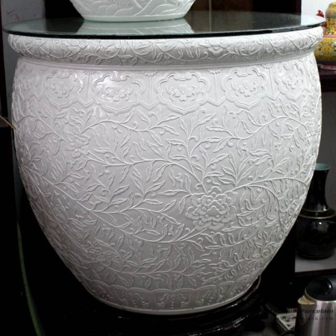 RYOM17_White clay handicraft floral design large ceramic pot for home decor