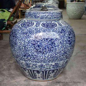 RYOM18_China antique design hand paint blue and white cornflower pattern large ceramic sundry jar