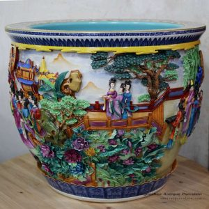 RYOM21_Bright color colorful ancient China lady in garden pattern ceramic fish pond