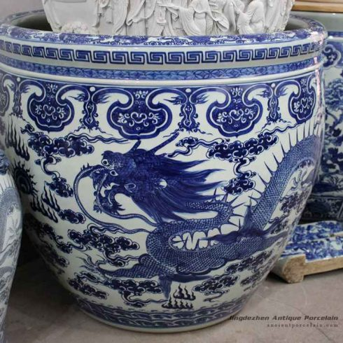 RYOM22_Over size blue and white Asian fire dragon pattern china fish pond tank