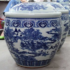 RYOM23_Factory wholesale cheap price hand paint huge blue and white remote mountains life pattern ceramic jar