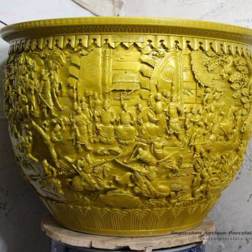 RYOM28_Yellow plain color carved the Romance of the Three Kingdoms scene stoneware large outdoor planter