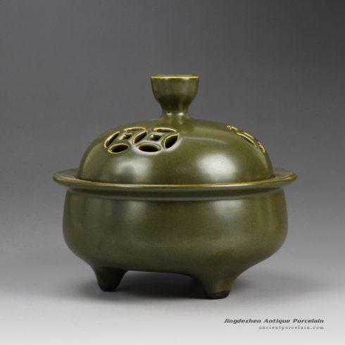 RYPM34_Tea dust glaze solid color China heritage three feet ceramic incense burner