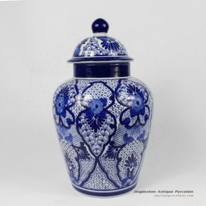 RYPU15-B_14″ Blue White Floral Design Ginger Jar