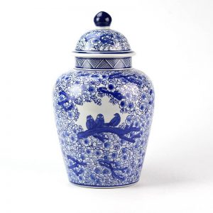 RYPU15-D_Warm and sweet floral crowed bird family mark cobalt and white ceramic ginger jar