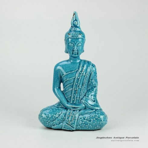 RYPU22_h13inch Blue Crackle Seated Buddha Figurine