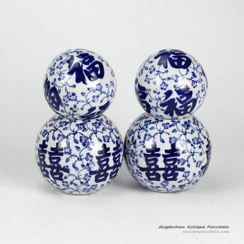 RYPU23-B_Double happiness and good fortune letter pattern blue and white ceramic ball