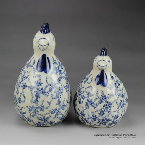 RYPU24_h7.5inch Blue and White Pair of Cearmic Chicken Figurine