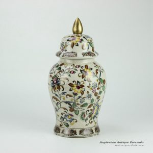 RYPU26_h14.5inch Crackle Floral design with Gold Knob Cearmic Temple Jar