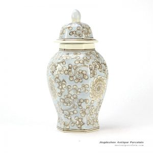 RYPU34_six-faced floral pattern Oriental furnishing light blue ginger jar