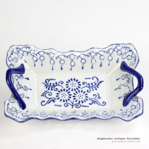 RYPU37_ Pierced hand paint blue and white floral pattern hot sale butter cheese flan lasagna pie dish