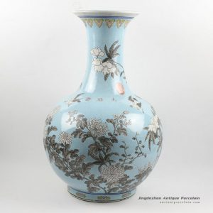 RYRK16_H21.5″ Hand painted Chinese antique blue ceramic vases