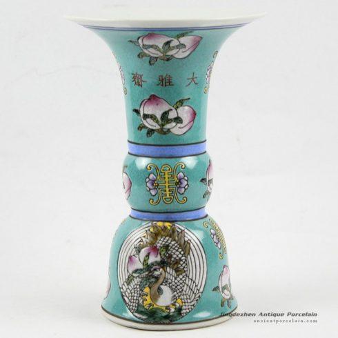 RYRK20_h9″ Dynasty porcelain Porcelain Vase, blue famille rose hand painted peach
