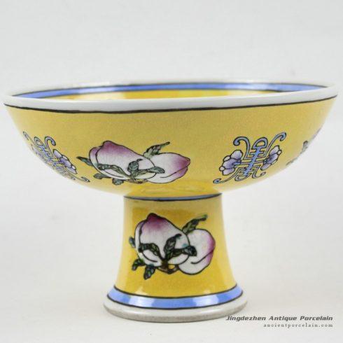 RYRK21_h4.5″ Dynasty porcelain Porcelain yellow vases, hand painted peach