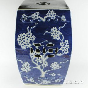 RYSI13_17inch Blue and white hand painted Garden Stool