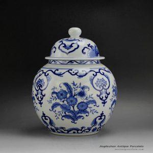 RYSN01_Hand painted blue floral pattern ceramic caddy,little jar