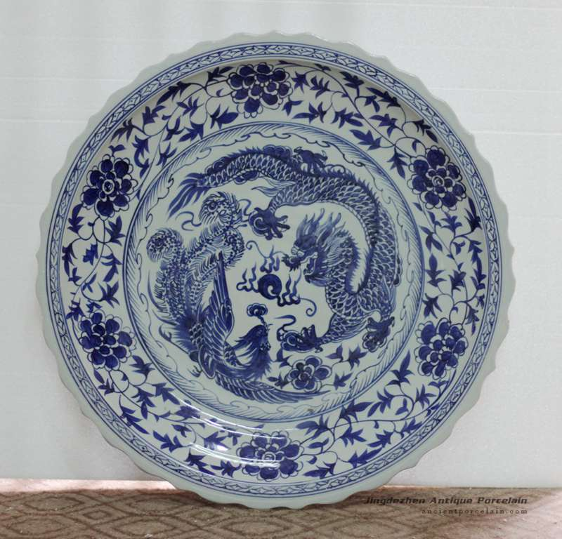 RYST04-B_32inch Large Blue and white painted dragon and phoenix floral design Ceramic Plate