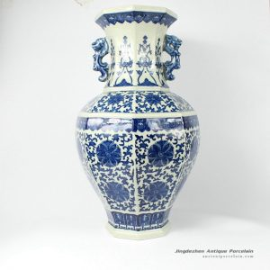 RYTM06_21.9″ Blue and white Floral antique ceramic vases