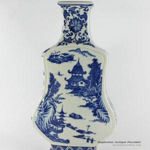 RYTM09_15″ Blue white ceramic vase