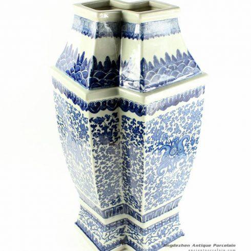 RYTM31_h21″ wholesale blue and white fish shape vases