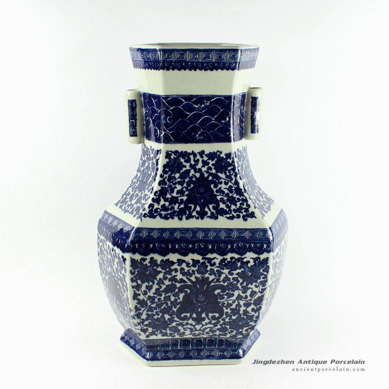 RYTM34_h18.5″ wholesale floral blue and white porcelain vases