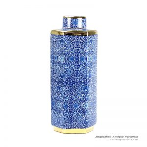 RYTM38-B_Hundreds of flowers pattern golden line hexagonal shape slim and tall ceramic jar with lid