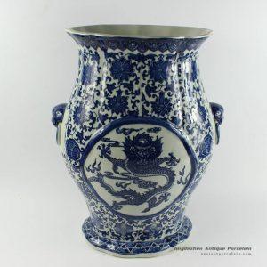 RYTM43_h16″ wholesale blue and white ceramic dragon vase