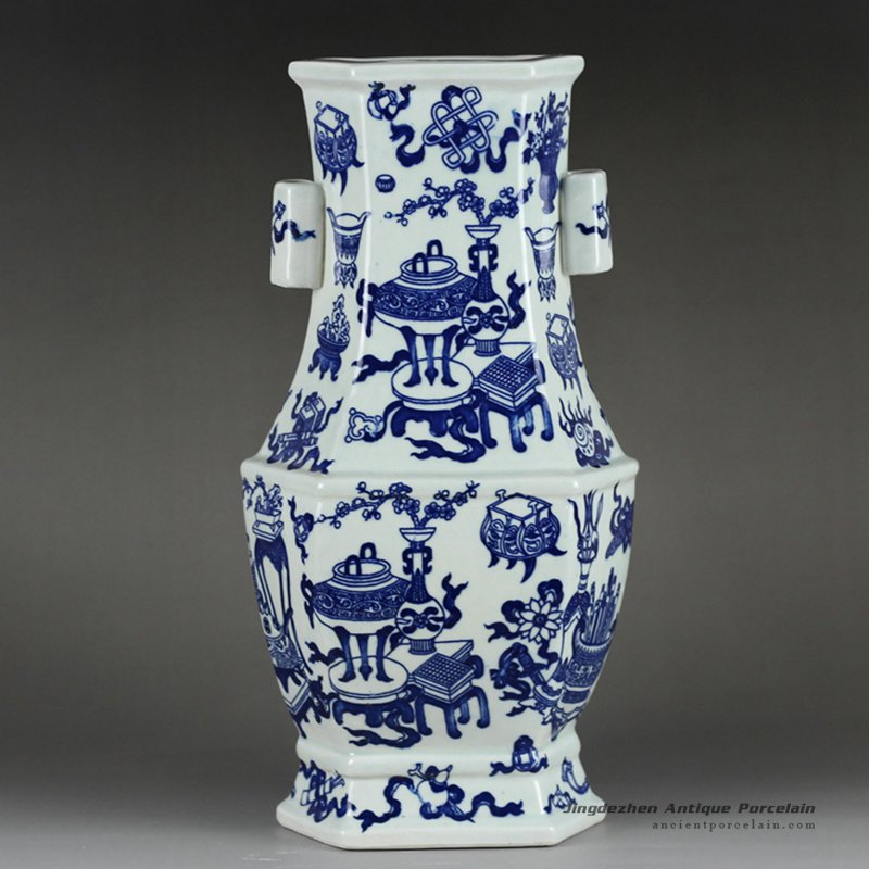 RYTM51_Vintage top grade 6 sides two handles hand paint eight treasures pattern blue and white ceramic decor vase