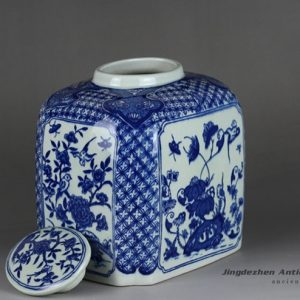 RYTM62_Blue and white ceramic square jar with flat lid