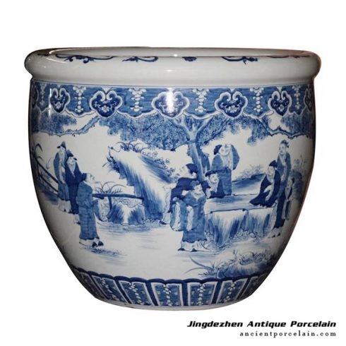 RYUC05_Hand paint literary man of ancient China pattern under glaze blue porcelain large outdoor fish pond