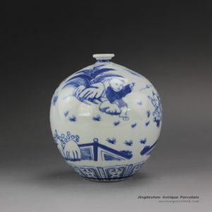 RYUJ17_Blue White Children Ceramic Vase