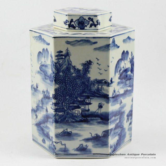 RYUK12_H11.5″ Hand painted landscape Jindezhen Porcelain Blue and White Cookie jars
