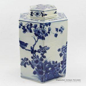 RYUK13_H11.4″ wholesale jars hand painted Blue white flower bird Hexagon Jar