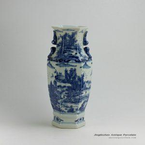 RYUK18_16.7″ Landscape design Blue & White Vases