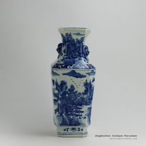 RYUK19_Blue and white landscape pattern ceramic vase