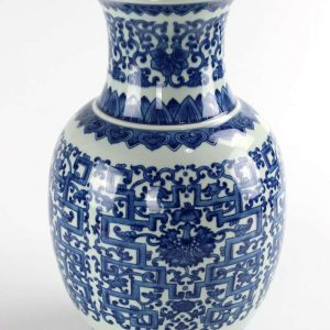 RYUU23_Glossy surface water lily interlock branch pattern ceramic vase