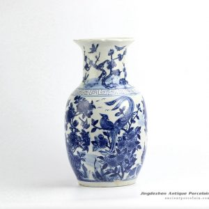 RYUV09-B_Floral pattern hand paint blue and white wax gourd shape ceramic vase