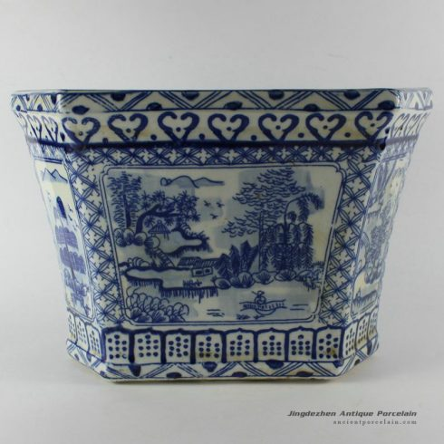 RYUV10_D34.5CM Blue and White Planter