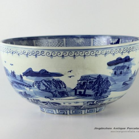 RYUV12_12.4″ Blue and white ceramic bowls landscape design