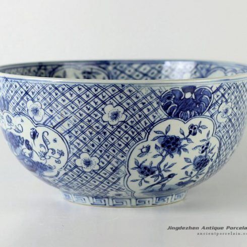 RYUV13_12″ Blue white ceramic bowls flower and fruit design