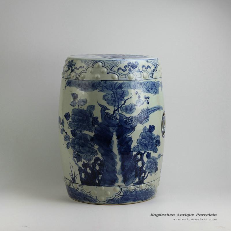 RYUV17_17.5inch Flower bird Blue and white garden stool