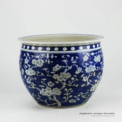 RYWG06_High quality hand painted blue and white plum blosoom ceramic outdoor planters