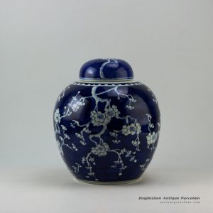 RYWG09-B_Hand painted blue and white plum blosoom ceramic jar