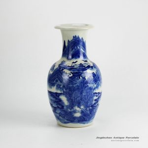 RYWI18_Best quality hand paint collectable Asian landscape pattern blue and white china ware vase