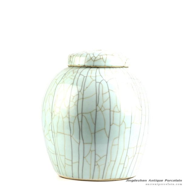 RYXC11-B_Crack glaze ceramic jar with lid