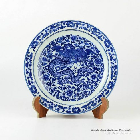 RYXC19_11.4″ Hand painted blue and white chinese ceramics decor plate