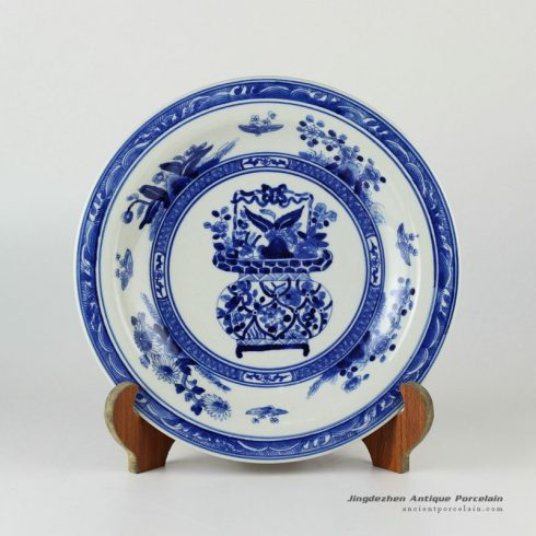 RYXC20_11.4″ Hand painted blue and white ceramic decor plate